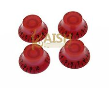 4x Red LP Guitar Speed Knobs Top Hat Bell Knobs Fits Les Paul Guitar