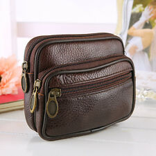 Men's Running Travel Genuine Leather Wallet Bag Belt Fanny Pack Waist Bag Purse