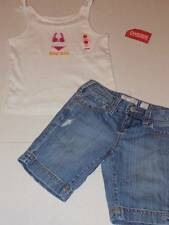 gymboree summer top girls size 7 beach cutie tank distressed denim shorts