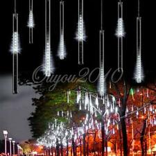 30CM Meteor Shower Rain Tube Snowfall 144 LED Light Tree Garden Christmas White