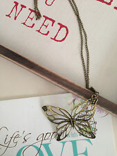 New Bronze vintage stylish hollow Butterfly pendant necklace sweater chain
