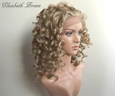 Ash Blonde mix Glueless SKIN Top Med Long Curly Invisible Lace Front Wig 091