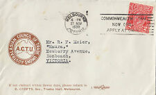 Stamp Australia 2d red KGV on 1930 ACTU union C Crofts cover slogan postmark