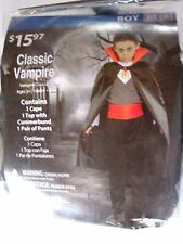 Boy size 8 M Classic Vampire Costume with Cape Halloween Trick or Treat