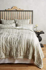 NEW ANTHROPOLOGIE GRAY DRAPED WISTERIA QUILT SIZE TWIN