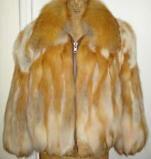 NEW Finest Quality Natural Red Fox Fur Jacket Size 6-8 Free Shipping