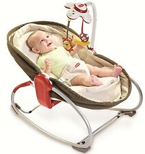 Tiny Love 3-in-1 Baby Rocker Napper Seat Travel Bassinet Play Sleep BROWN NEW