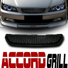 Jdm-R Blk Mesh Type Front Hood Bumper Grill Grille Abs 98-02 Honda Accord 2D 2Dr