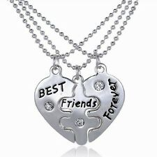 3P Heart BFF Best Friend Forever Crystal Pendant Necklace Charm Jewelry Silver