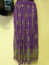 Ladies Indian Bollywood Sequin & Floral Print Crinkle Skirt - Purple