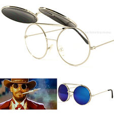 Celebrity Flip Up Sunglasses Movie Silver Round Vintage Blue Mirror UV Lens New