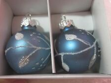 Christmas Ball Place Card Holder Blue Silver 2 Christmas Holiday Holders NIP