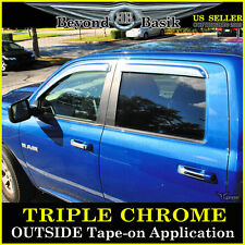 2010-2016 DODGE RAM 2500 3500 MEGA Cab 4pc Chrome Door Window Visors Side Rain