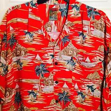 Hawaiian Shirt 3XL XXXL Pineapple Connection Red Tiki Hut Sail Boat 100% Rayon