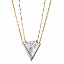 Natural White Turquoise Triangle Quartz Marble Silver 18K GP  Layered Necklace