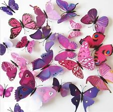 24 Pcs(2 Sets) 3D Butterfly Wall Stickers & Magnetic Decals Home Room Decor