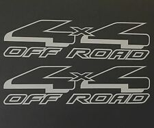 2 SILVER 4X4 OFF ROAD DECAL STICKER 4WD TRUCK FORD CHEVY DODGE TOYOTA GMC LOGO