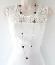 """Pretty 40"""" long dainty silver tone chain & scattered bead chain necklace"""
