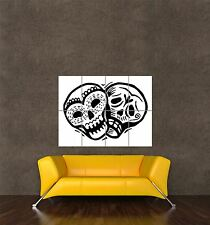 POSTER PRINT PAINTING DRAWING MEXICAN CALAVERAS DAY DEAD SKULLS OUTLINE SEB336
