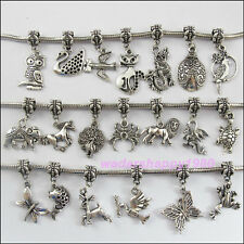 20 Mixed New Antiqued Silver Animal Dangle Charms Beads fit European Bracelet