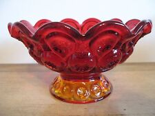 "Vtg LE Smith AMBERINA Ruby/Gold Moon & Star Large Footed Bowl Excellent 4"" x 7""!"
