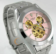 Pink-Dial STEEL DISNEY MICKEY AUTO AUTOMATIC SELF-WINDING MECHANICAL MENS WATCH