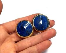 Fabulous! Large Natural Blue Lapis Gold over Sterling Silver Omega Earrings