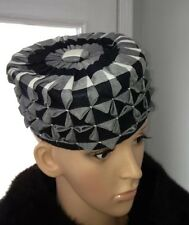 Vintage 1960s Pill Box Round Hat Handmade Black White Check