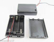 New 3x AA 2A 4.5V Cell Battery Holder Box Case With Switch 6'' Lead Wire Black