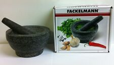 17cm Pestle And Mortar Natural Granite Mortar & Pestle By Fackelmann Large Size