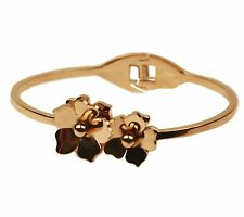 "ConMiGo A1450 Eye catching ""rose gold"" stainless steel bracelet with 2 flowers"