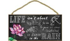 "...LEARN TO DANCE IN THE RAIN Chalk Art Primitive Wood Hanging Sign 5"" x 10"""