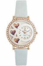 DFa Rose Gold White Heart Dial White Leather Strap analog Watch for Girls-women