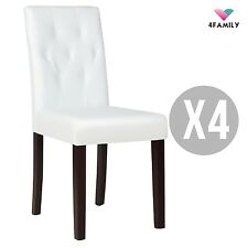 Set of 4 Ivory White Leather Dining Chair Kitchen Dinette Room w/Tufted Backrest
