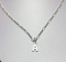 14KT WHITE GOLD EP 18 INCH 2MM FIGARO COMFORT CHAIN NECKLACE WITH YOUR INITIAL