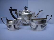 STERLING BRITISH 3 PIECE TEA SET 1890 BIRMINGHAM QUEEN ANNE STYLE