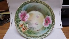 ****VINTAGE/ANTIQUE NIPPON PLATE BOWL, PINK POPPIES GOLD EXCELLENT*****
