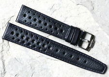 Heuer Carrera dark blue textured 1960s/70s racing strap 20mm with Heuer buckle