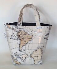 Insulated lunch bag in World Maps oilcloth
