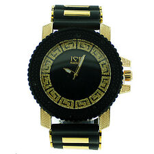 MENS ICED OUT GOLD/BLACK ICE NATION HIP HOP WATCH WITH SILICONE BULLET BAND