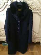 Sachi Collection Black Lambswool Mid Lenth Women Coat with Dyed Fox Collar, Sz 8