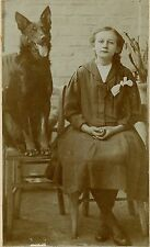 Teenage Girl with Braided Hair and her Dog, Vintage Original Photo