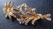 VINTAGE Chiaro Strass Fiore Tono Oro Spilla Pin-c826
