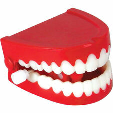 LARGE CHATTERING WIND UP CLOCKWORK JOKE FAKE FUNNY WHITE TRICK TEETH NEW