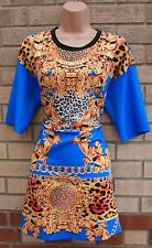 RIVER ISLAND BLUE YELLOW BAROQUE LEOPARD PRINT SMOCK BAGGY TUNIC SHIFT DRESS 10