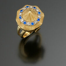 Unsigned Swiss 14K Yellow Gold Diamond and Sapphire Ladies Ring Watch CA1940s