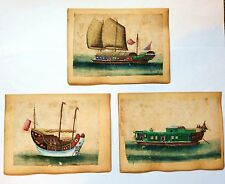 A set of three 19th century Chinese trade/export paintings of junks