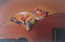 Kätzchen-90x60cm-Ölgemälde Handgemalt Leinwand Signiert Sofort Versand
