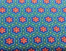 Hilco Jersey Blumen Retro Auf Blau, Grün Kinderstoff