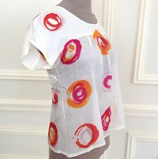 ETRO Off-White/Painted Flower Circles 100% Silk Belt Blouse Top Tunic 44 ITALY